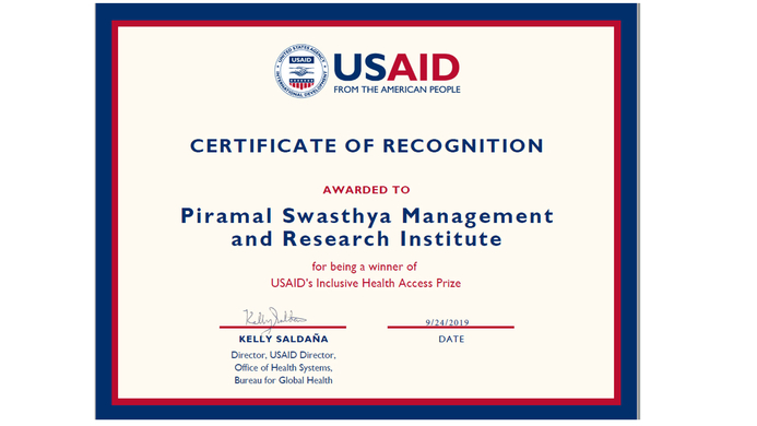 Piramal Swasthya, Inclusive Health Access Award, High Impact Healthcare Platform, Healthcare Platform, Universal Health Care', Universal Health, United Nations General Assembly, USAID, Vishal Phanse, Swati Piramal, Piramal Group, Innovation Incentive Award Authority, Maternal Mortality Rate, Health Access Prize