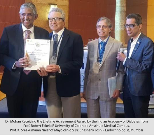 Indian Academy of Diabetes, Dr v Mohan, Dr RM Anjana, Robert Eckel, Diabetes Association, V Mohan, Diabetes Specialties Centre, Madras Diabetes Research Foundation, RM Anjana, Lifetime Achievement Award, THANDAV