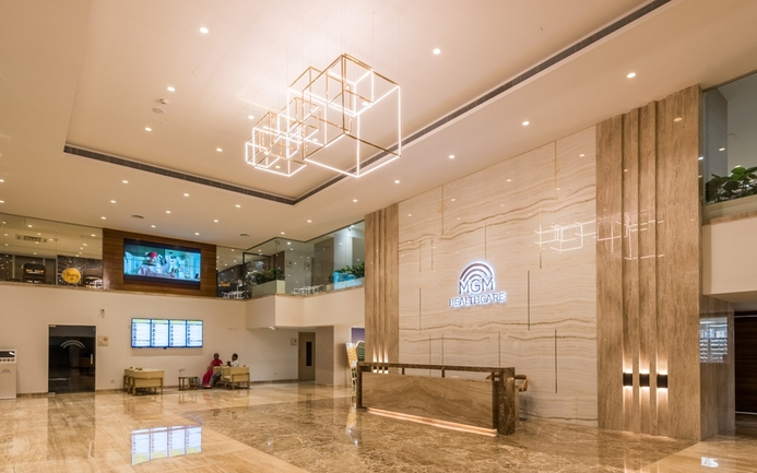 Lighting in lobby, MGM Healthcare, Dr Amardeep M Dugar, Functional lighting, Healthcare infrastructure, Rang Emei, Manu Malhotra