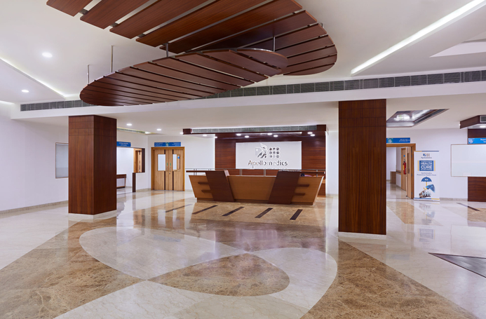 The reception lobby at Apollomedics Super Specialty Hospital in Lucknow.