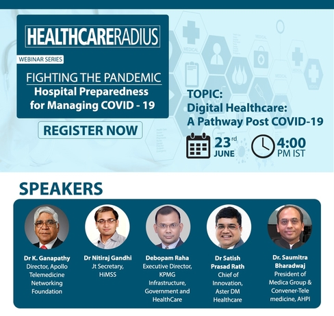 Healthcare Radius webinar, Digital healthcare, Telemedicine, Dr K Ganapathy, Dr Saumitra Bharadwaj, Dr Satish Prasad Rath, Lalit Mistry, Dr Nitiraj Gandhi
