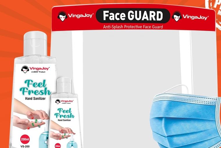 VingaJoy's new range of  face shields, masks and hand sanitisers